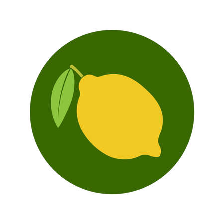 Lemon icon. Lemon in the circle sign isolated on white background. Symbol lemon with leaf. Vector illustration
