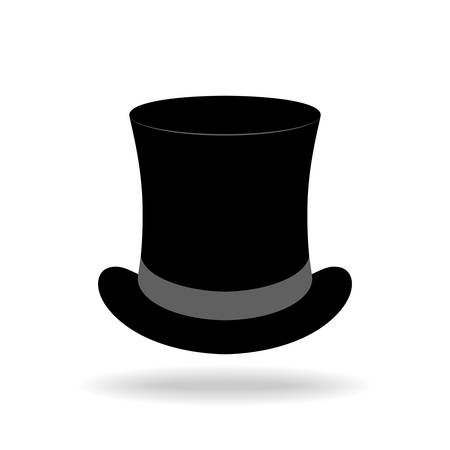 Top hat graphic icon. Black top hat sign isolated on white background. Vector illustration