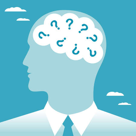 The questions in the human brain. Questions in the head businessmen. Business concept. Vector illustration.