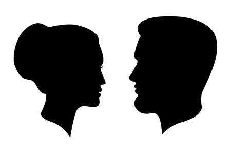Siluetas de hombre y mujer. Perfiles masculinos y femeninos aislados sobre fondo blanco. Símbolos de personas. Ilustración vectorial