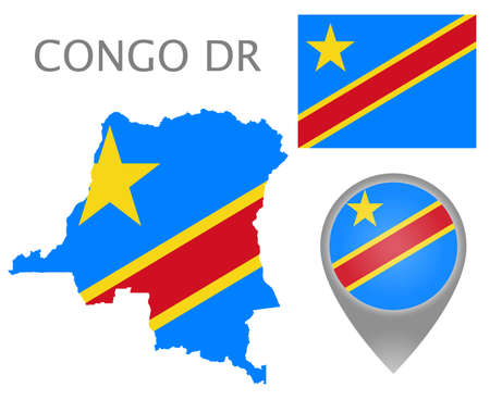 Colorful flag, map pointer and map of Democratic Republic of the Congo in the colors of the DR Congo flag. High detail. Vector illustration