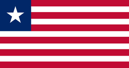 Liberia flag with official colors and the aspect ratio of 10:19. Flat vector illustration. Vettoriali