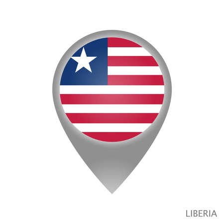 Map pointer with flag of Liberia. Colorful pointer icon for map. Vector Illustration.
