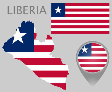 Colorful flag, map pointer and map of Liberia in the colors of the Liberian flag. High detail. Vector illustration