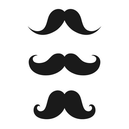 Moustaches mâles vintage. Moustaches dans un style rétro mis icônes isolés sur fond blanc. Illustration vectorielle