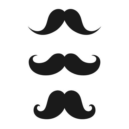 Mustaches male vintage. Mustaches in retro style set icons isolated on white background. Vector illustration