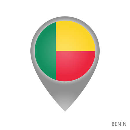 Map pointer with flag of Benin. Colorful pointer icon for map. Vector Illustration. 일러스트