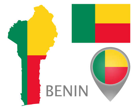 Colorful flag, map pointer and map of Benin in the colors of the beninese flag. High detail. Vector illustration