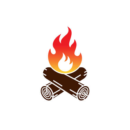 Campfire icon. Campfire sign isolated on white background. Иллюстрация