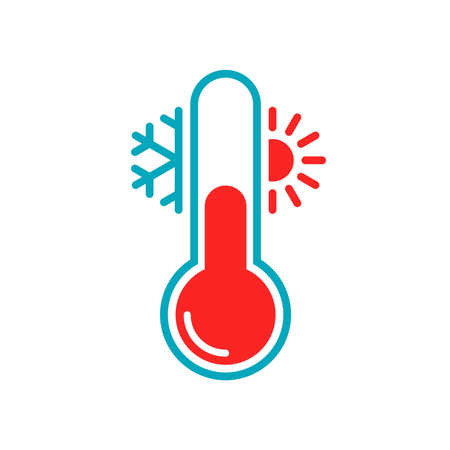 Thermometer with sun and snowflake graphic icon. Thermometer with cold and hot weather sign. Isolated symbol on white background. Vector illustration Illusztráció