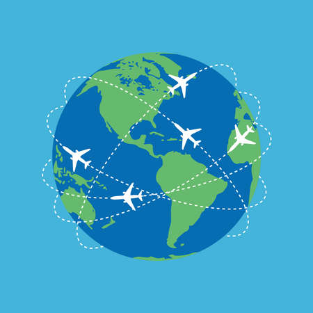 Aviation routes around the world as a symbol of global travel and business. Colorful planet earth on blue background