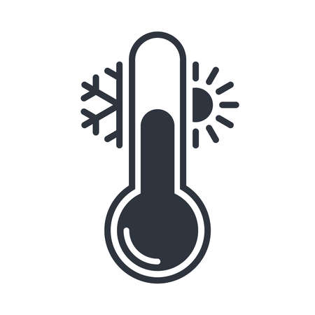 Thermometer with sun and snowflake graphic icon. Thermometer with cold and hot weather sign.