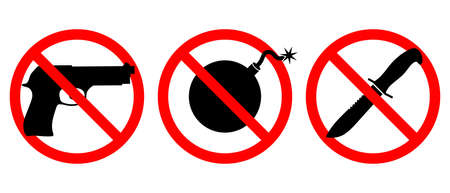 Weapons are prohibited icons set. Guns, knives, bombs are banned. Weapons in the red prohibition sign isolated  set symbols on white background. Illustration