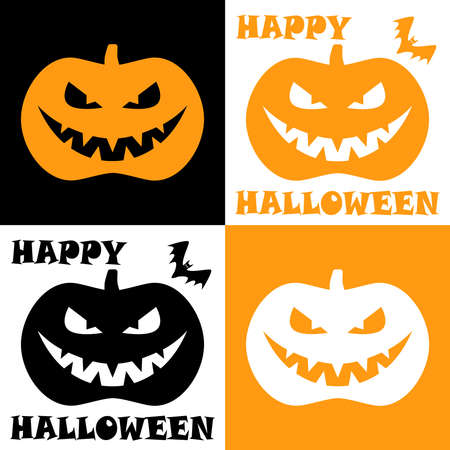 Four icons of pumpkins with bats and wishes happy Halloween. Vector illustration
