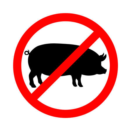 No pork graphic icon. Pork prohibition sign isolated on white background. Vector illustration