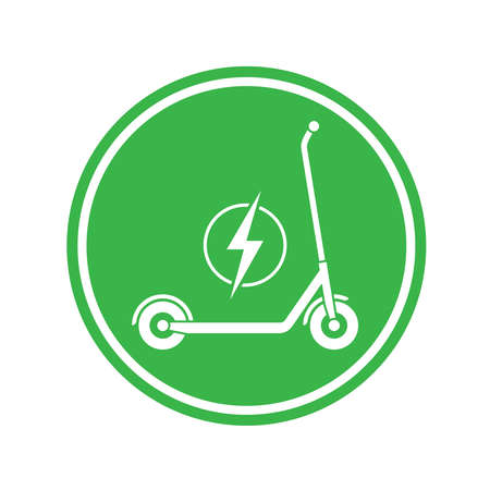 Electric scooter graphic icon. Transportation electric scooter sign in the green circle isolated on white background. Vector illustration Illustration