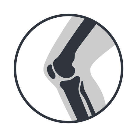Knee joint icon. Knee bones graphic sign. Symbol human joint in the circle isolated on white background.
