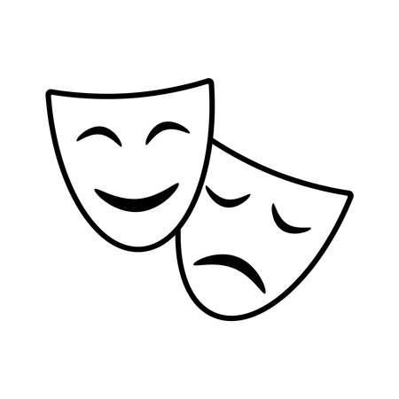 Theatrical masks graphic icons. Masks theatrical signs isolated on white background. Vector illustration  イラスト・ベクター素材