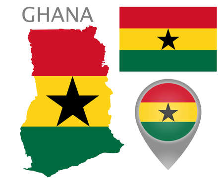 Colorful flag, map pointer and map of Ghana in the colors of the ghanaian flag. High detail. Vector illustration