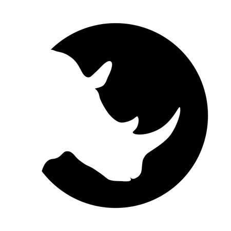Graficzna ikona nosorożca. Nosorożec głowa biała sylwetka w czarnym kółku izolowany na białym tle. Ilustracja wektorowa Ilustracje wektorowe