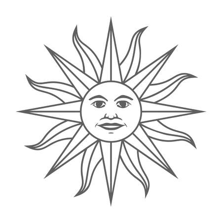 The Inca sun God. Inti sun of may. Uruguayan flag. Isolated on white background. Vector illustration Иллюстрация