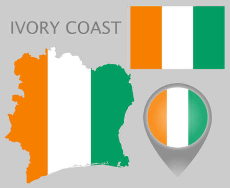 Colorful flag, map pointer and map of Ivory Coast in the colors of the Ivory Coast flag. High detail. Vector illustration