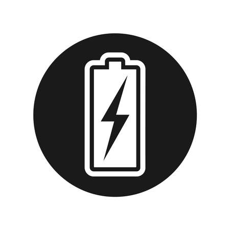 Storage battery graphic Icon. Level battery charging  sign in the circle isolated on white background. Vector illustration