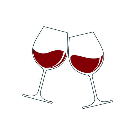 Clink glasses graphic icon. Cheers with two wine glasses with wine sign isolated on white background. Vector illustration