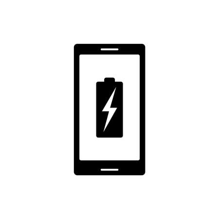 Phone level battery charging graphic icon. Battery charging sign isolated on white background. Vector illustration