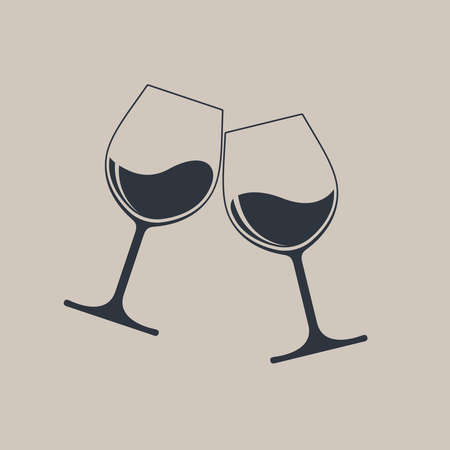 Clink glasses graphic icon. Cheers with two wine glasses with wine sign isolated on light brown background. Vector illustration