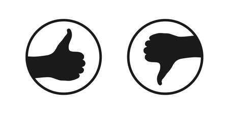 Like and dislike graphic icons. Buttons with hand finger up and hand finger down. Round marks Isolated on white background. Vector illustration