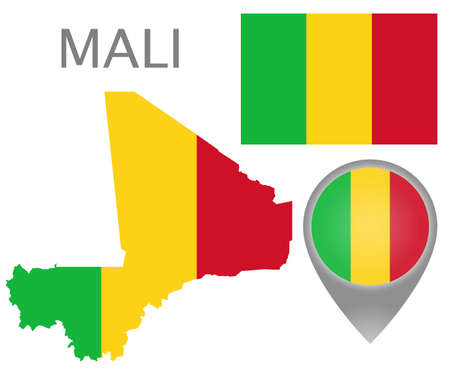 Colorful flag, map pointer and map of Mali in the colors of the Mali flag. High detail. Vector illustration