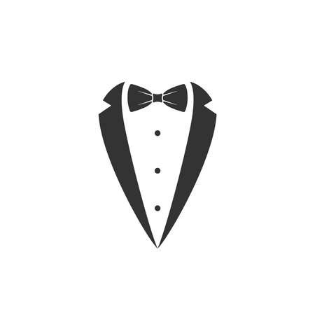 Gentleman graphic icon. Bow tie and tuxedo sign isolated on white background. Gala evening symbol. Vector illustration