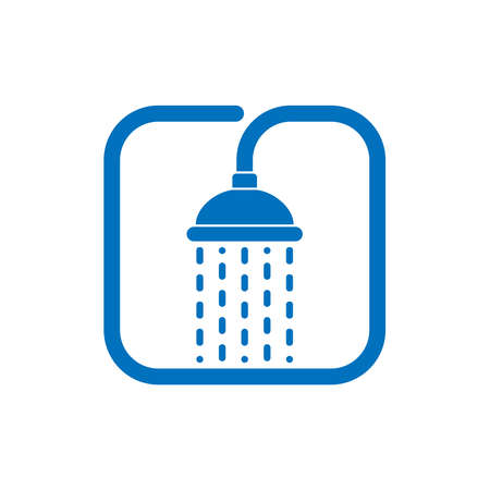 Shower head with trickles water graphic icon. Douche sign isolated on white background. Shower or bathroom symbol. Vector illustration