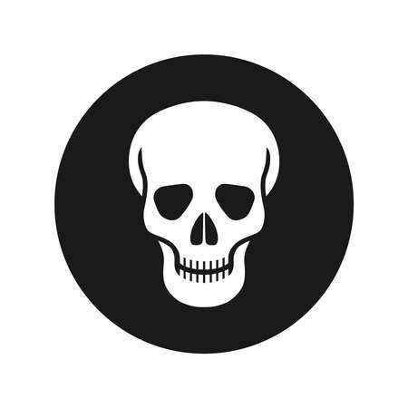 Human skull graphic icon. Skull sign in the circle isolated on white background. Vector illustration