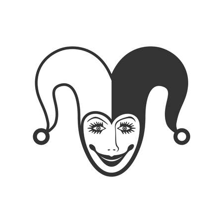 Joker head graphic icon. Jester sign isolated on white background. Buffoon symbol. Vector illustration Banque d'images - 134337261