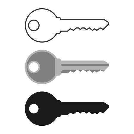 Key icon set. Keys from the locks graphic signs isolated on white background. Symbol lock and unlock.  Vector illustration Banque d'images - 134337266