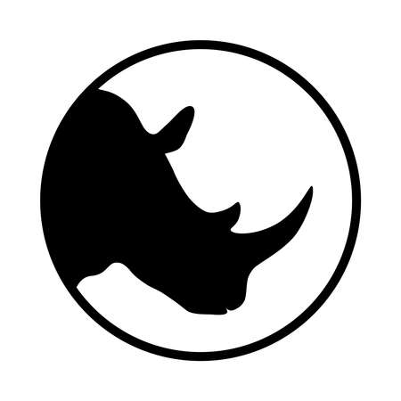 Rhino graphic icon. Head rhinoceros sign in the circle Isolated on white background. Wildlife symbol. Vector illustration Banque d'images - 134337267