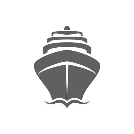 Sea ship graphic icon. Cruise liner sign isolated on white background.  Sea cruise symbol. Vector illustration