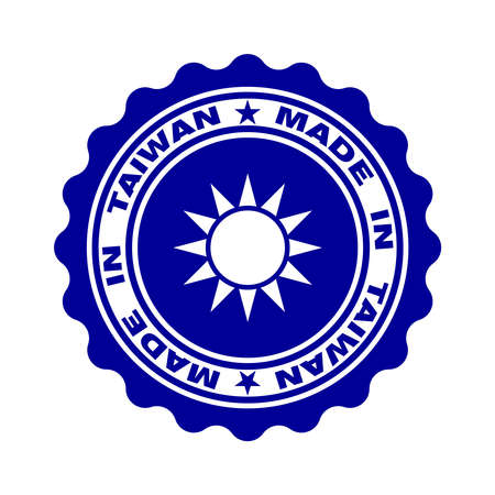 Stamp with text made in Taiwan. Logo taiwanese quality. Sun in centre stamp. Icon premium quality. Label made in Taiwan. Vector illustration Banque d'images - 134337273