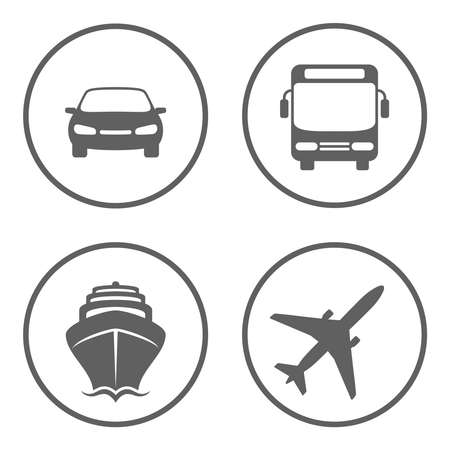 Car, bus, ship and plane signs in the circles isolated on white background. Vehicles for the carriage of passengers graphic icons set. Transport symbols. Vector illustration Banque d'images - 134337274