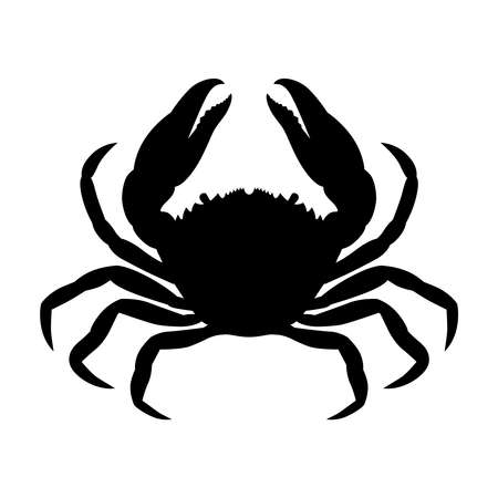 Crab graphic icon. Sea �rab black silhouette isolated on white background. Vector illustration Banque d'images - 134337275