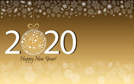 Happy New Year 2020 greeting card in gold design. Vector illustration with date 2020 and text