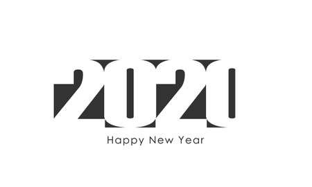 2020 with wishes Happy New Year graphic logo text design. Business style. Template 2020 isolated on white background. Vector illustration Banque d'images - 136070847