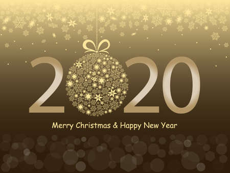 Merry Christmas and Happy New Year 2020 greeting card in a gold design. Snowflakes, bokeh light and text on a gold background. Vector illustration Banque d'images - 135221293