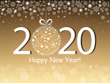 Happy New Year 2020 greeting card in a gold design. Snowflakes, bokeh light and text on a gold background. Vector illustration Banque d'images - 135221311