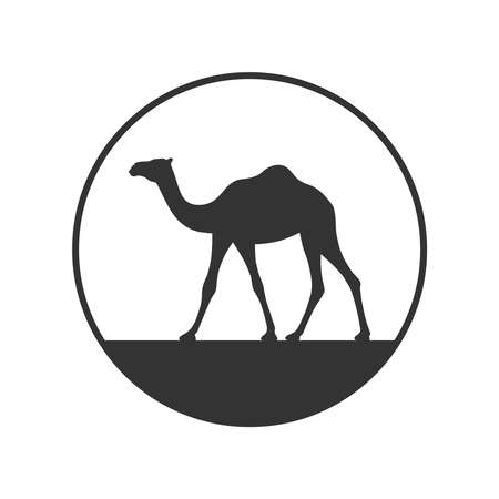 Camel graphic icon. Camel in the circle sign isolated on white background. Camel symbol of desert. Vector illustration Banque d'images - 136070850