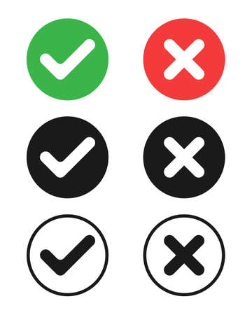 Check mark icons set. Ticks and crosses symbols. Buttons with check marks and crosses. Round marks Isolated on white background. Vector illustration Banque d'images - 136070851