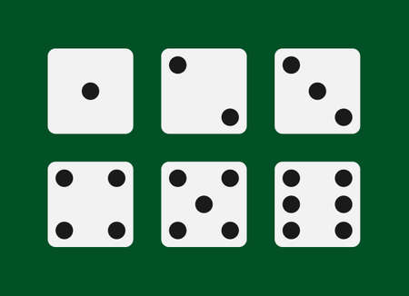 Dice graphic icons set. Six different side of cube with numbers from 1 to 6. Dice signs Isolated on green background. Vector illustration Vectores