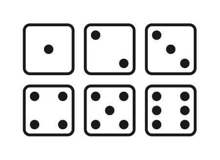Dice graphic icons set. Six different side of cube with numbers from 1 to 6. Dice signs Isolated on white background. Vector illustration Vectores